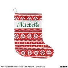 Personalized name nordic Christmas stocking Large Christmas Stocking