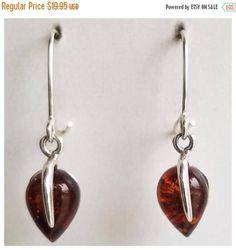 SUPER SALE 20% Amber Earrings  Silver drop earrings  Genuine