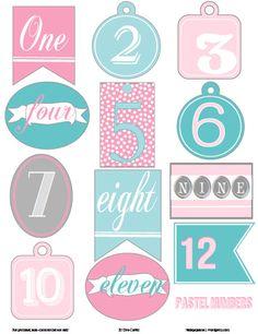 Free Printable Download -  Pastel Christmas numbers