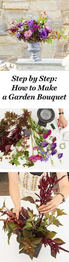 Design a bouquet with a wide array of florals, edibles and botanicals—even weeds. Follow these step-by-step instructions to build your own flower arrangement: http://www.midwestliving.com/garden/ideas/how-to-build-a-garden-bouquet-step-by-step/