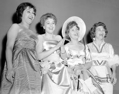 Anita Traversi (Switzerland), Siw Malmkvist (Sweden), Katy Bodtger (Denmark), Nora Brockstedt (Norway) , backstage on the Eurovision Song Contest 1960