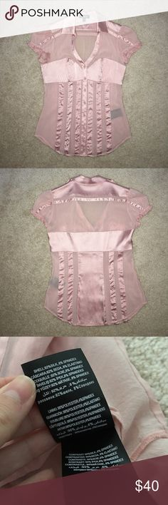 Bebe Dusty Pink Satin Blouse Super cute, slightly see through but classy. Just drycleaned. Only worn once so basically brand new. bebe Tops Blouses