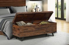 Bed Bench Storage, Storage Trunk, Modern Storage Bench, Storing Blankets, End Of Bed Bench, Foot Of Bed, Acacia Wood, Living Room Furniture, Living Room Storage