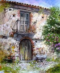 Sign of The Time ~ Francis Mangialardi Me gusta Watercolor Canvas, Watercolor Paintings, Watercolour, Beautiful Buildings, Beautiful Places, Pintura Colonial, Art Carte, Urban Sketching, Italian Artist