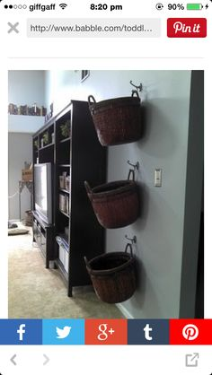 Wall basket for toys and clothes