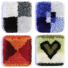 """Start Kit Rya Rug"" (2003), design: Minna Vehviläinen #ryijy #Startti-ryijy #MinnaVehviläinen #contemporary #SuomenKasityonYstavat #FriendsOfFinnishHandicrafts Rya Rug, Latch Hook Rugs, Diy Bench, Rug Hooking, Scandinavian, Kit, Knitting, Crafts, Contemporary"
