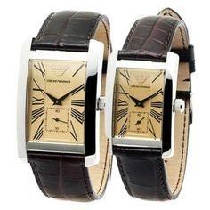 Emporio Armani His & Hers Classic Leather Watches - & Emporio Armani, Armani Watches For Men, Couple Watch, Classic Leather, Stainless Steel Watch, Fashion Watches, Leather Watches, Rings For Men