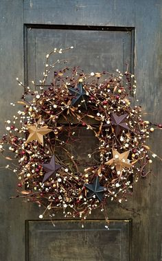 Patriotic Wreath with Barn Stars, Primitive Americana Wreath, Holiday of July Wreath, Country Wreath, Rustic Decor Christmas Time, Christmas Crafts, Christmas Decorations, Holiday Decor, Etsy Christmas, Primitive Christmas, Father Christmas, Country Christmas, Christmas Christmas