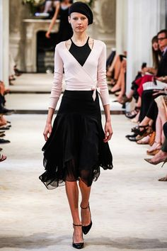Ralph Lauren pre-spring/summer 2014. Love this wrap around cardigan and the flowing skirt. Ballet inspiration