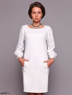 deling white dress With sleeves, even better Modest White Dress, Pretty Dresses, Beautiful Dresses, Casual Dresses, Dresses For Work, Model Outfits, African Fashion Dresses, Classy Dress, Fashion Wear