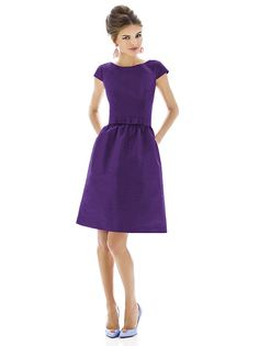 Cocktail length peau de soie bateau neck dress w/ cap sleeves and matching belt w/ bow trim at natural waist. Full shirred skirt has pockets at side seams. in Italian Plum