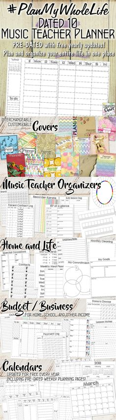 #PlanMyWholeLife Music Teacher Planner: Dated 10 Version. Organized Chaos. Finally a teacher planner designed for music teachers! And these pages are pre-dated, and get updated for free every year! Just print and go, no more searching for a new planner or writing in lots of tiny dates! Organize your entire life with this planner, including classroom, curriculum, home, and so much more!