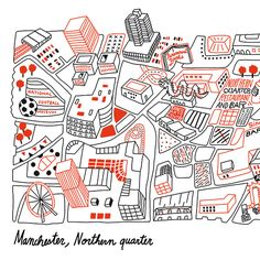 more playful/illustrated diagrams - Antoine Corbineau - Manchester Draw Map, Manchester Map, Map Design, Graphic Design, Plan Ville, Manchester Northern Quarter, Mental Map, Map Quilt, Map Projects
