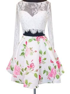 Two-piece Bateau Long Sleeves Above-knee Floral Print Satin White Lace Homecoming Dress With Beading