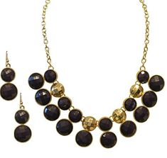 Gold Tone Navy Blue Statement Necklace and Earring Set for Women *** Want to know more, click on the image. Earring Set, Jewelry Sets, Navy Blue, Gold, Image, Women, Fashion, Moda, Fashion Styles
