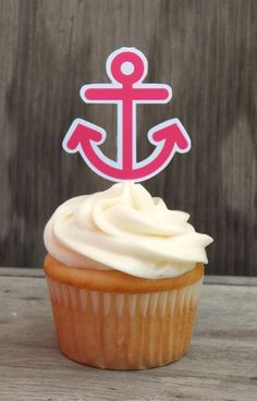 Nautical Birthday Party - Set of 12 Hot Pink Anchor Cupcake Toppers by The Birthday House