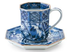 平戸 祥瑞【モーニングカップ】 - 【公式】賞美堂本店オンラインショップ Saga, Coffee Cups, Tea Cups, Cup And Saucer, Porcelain, Blue And White, Tableware, China, Free Shipping