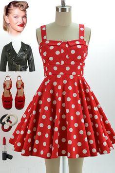 50s Style Red White Polka Dot Bombshell Pinup Full Skirt Sun Dress | eBay $44.99
