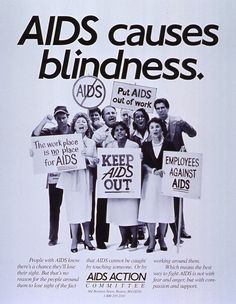 The AIDS Action Committee produced this poster about ignorance blinding employers in 1986.