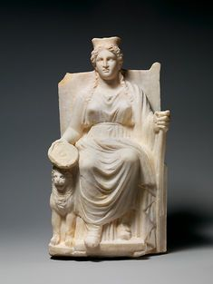 """""""Marble statuette of Kybele"""" (ca. 1st-2nd century CE). Roman, Imperial period. Posted on metmusem.org."""