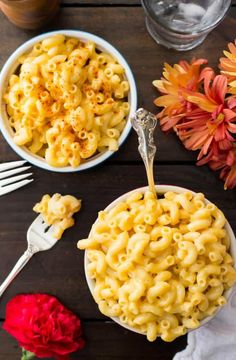 Two hot bowls of simple mac and cheese recipe without flour