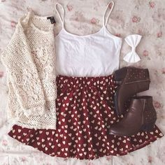 Love the skirt and the lace sweater #TeenFashion