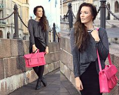 Outi Toivola - Nowistyle Grey Top, Gina Tricot Pink Satchel, Skopunkten Lace Up Boots, Lindex Necklace - THINK PINK