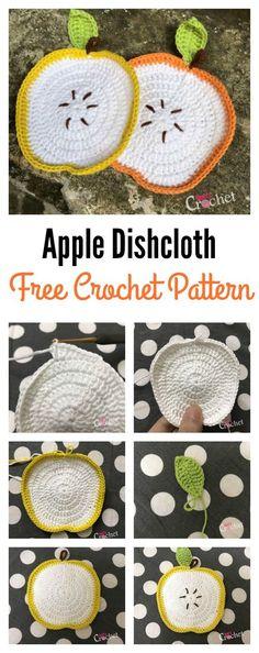 Yarn Hook Needles: Adorable Apple Dishcloth Free Crochet Pattern