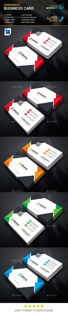 Corporate Business Card Template PSD. Download here: https://graphicriver.net/item/corporate-business-cards/17498651?ref=ksioks