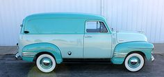 1954 Chevy 6 Cyl 4 Speed Panel Truck. Adore the two-tone aqua palette! #vintage #1950s #cars #trucks