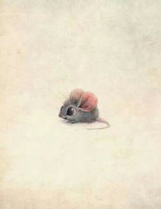 Super cute, little, pink eared, gray mouse drawing.