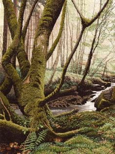 """""""Mossy Stream"""" -  Alison Holt  machine-embroidery"""