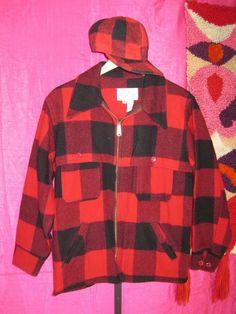 vintage 70s LL BEAN size M Red Plaid Wool BARN COAT Hunting Jacket MATCHING HAT #LLBean #BasicCoat