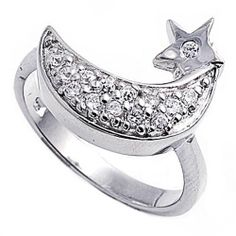 Rhodium Plated Sterling Silver Wedding & Engagement Ring Clear CZ Moon Ring MM ( Size 5 to 9) Double Accent. $33.99