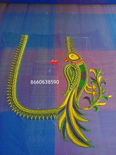 Parrot ,to order pls what's app on 7299852557 Peacock Blouse Designs, Peacock Embroidery Designs, Cutwork Blouse Designs, Best Blouse Designs, Simple Blouse Designs, Bridal Blouse Designs, Blouse Neck Designs, Traditional Blouse Designs, Maggam Work Designs