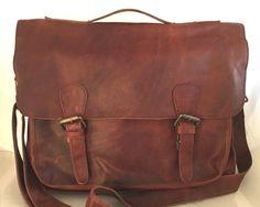 Men's MAHI Full Grain Leather the Messenger / Briefcase Bag The Messenger, Mahi Mahi, Briefcase, Grains, Satchel, Handbags, Purses, Leather, Ebay