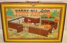 Toys and Stuff: Marx Fort Apache Carry-all w-Tin HQ & Stable 1960s Toys, Retro Toys, Vintage Toys, Vintage Games, Small Soldiers, Toy Soldiers, Gi Joe, Childhood Toys, Childhood Memories