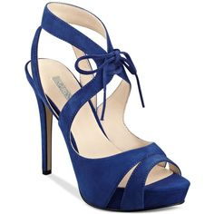 Guess Women's Hedday Ankle-Tie Strappy Platform Dress Sandals ($110) ❤ liked on Polyvore featuring shoes, sandals, heels, heels and boots, dark blue suede, heeled sandals, ankle strap shoes, suede platform sandals, guess sandals and strap sandals