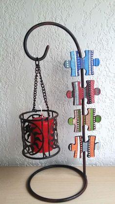 magnets décoratifs aimantés pour cuisine en bois peint forme puzzle : Accessoires de maison par art-monize31
