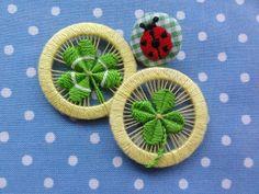 * Tingling Chidori * Wonderful Clover ring buttons by Japanese artist Yoko Odaira