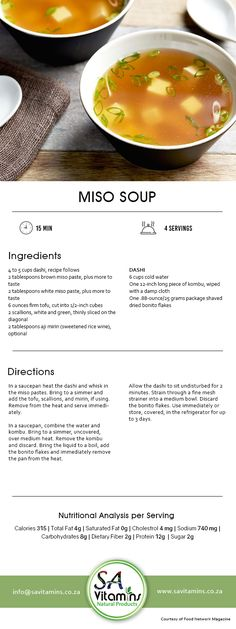 Lunch Hour is the Best Hour! Try our Healthy Lunch Recipes now for a better and healthier lifestyle. White Miso, Miso Soup, Lunch Recipes, Tofu, Healthy Lifestyle, Nutrition, Desserts, Luncheon Recipes, Postres