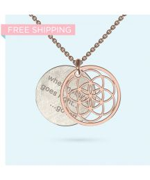 Gold Seed of Life Inside Story Necklace Wheel Of Life, Pendant Design, Gift Vouchers, Hamsa, Precious Metals, Washer Necklace, Initials, Pendants, Gold