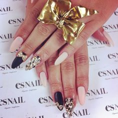 Stiletto Nails - Baby pink and black with gold detailing