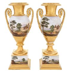 Pair of Paris Porcelain Gilt and Polychrome Decorated Two-Handled Urns on Pedestals