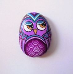 Painted Stone Colorful Owl with acrylic colors by KanetisStones