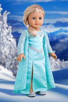 Snow Queen - Long turquoise dress with sparkling cape and silver shoes - 18 Inch American Girl Doll Clothes