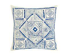 Cuscino in cotone e poliestere Mosaico azzurro - 45x45 cm