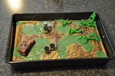 Birthday ideas - army cake.  Army/Camo party