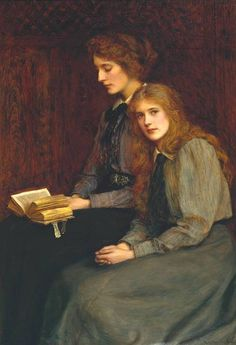 The Sisters (1900). Ralph Peacock (English, Classical, 1868-1946). Tate Gallery, London. The painting was presented to the nation by the artist. The elder sister reading from an open book was Miss...