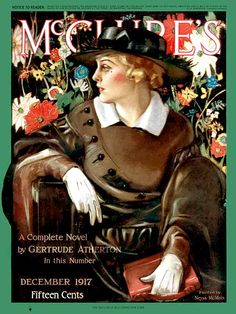 Neysa McMein- vintage 1917 Edwardian magazine cover showing a fashionable lady.